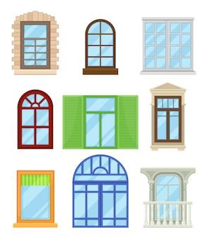 Colección de dibujos animados de ventanas de colores sobre fondo blanco.