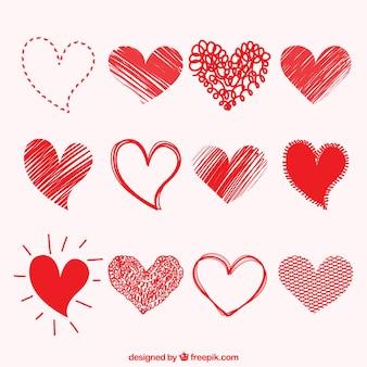 Colección de dibujos de corazones