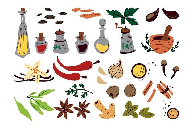 Colección de dibujos de diferentes condimentos hierbas.