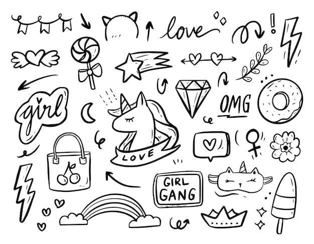 Colección de dibujos de doodle de girl power