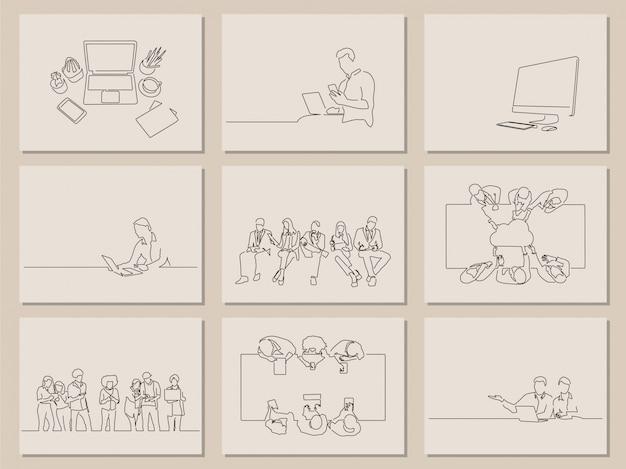 Colección de dibujos de líneas tecnológicas.