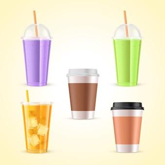 Colección de diferentes bebidas deliciosas. vector gratuito