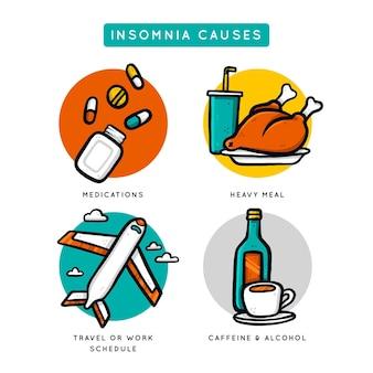 Colección de diferentes causas de insomnio