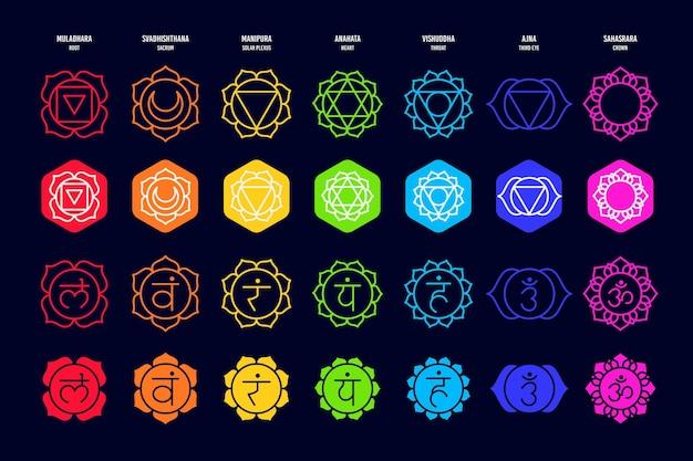 Colección de diferentes chakras coloridos