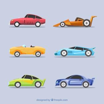 Colección de diferentes coches de carrera