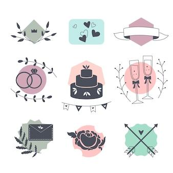 Colección de diferentes elementos de boda.