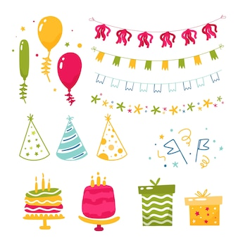 Colección de diferentes elementos de cumpleaños.