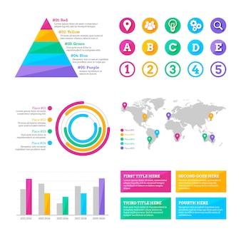 Colección de diferentes elementos infográficos.