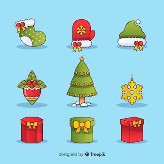 Colección de diferentes elementos de navidad