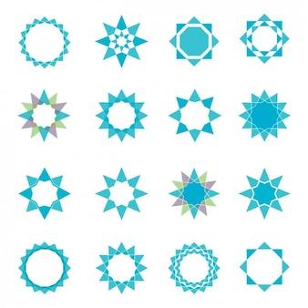 Colección de diferentes estrellas azules