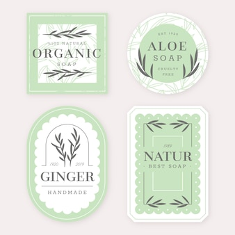 Colección de diferentes etiquetas de jabón.