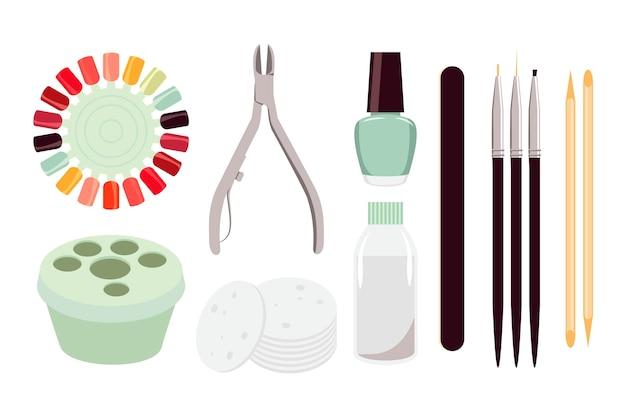 Colección de diferentes herramientas de manicura.