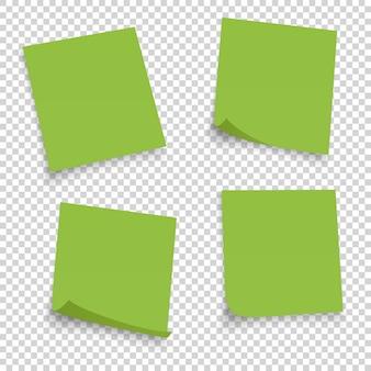 Colección de diferentes hojas verdes. nota de documentos con esquina rizada aislado sobre fondo transparente.