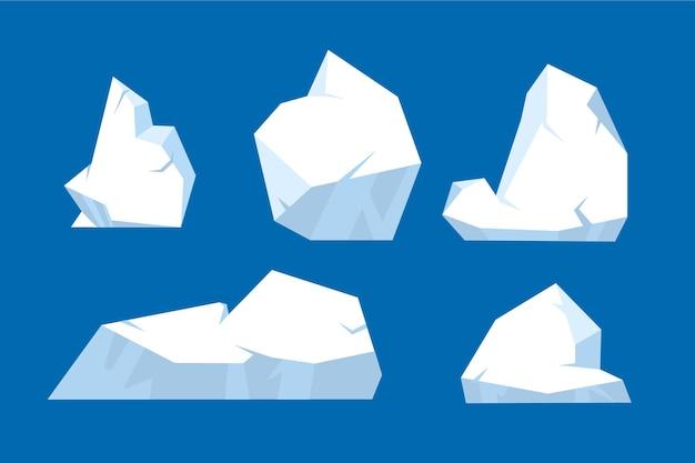 Colección de diferentes icebergs dibujados.