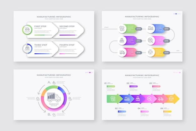 Colección de diferentes infografías de fabricación.