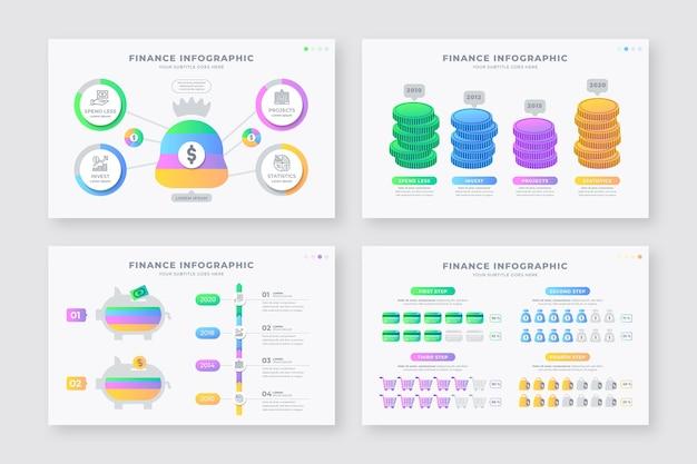 Colección de diferentes infografías de finanzas