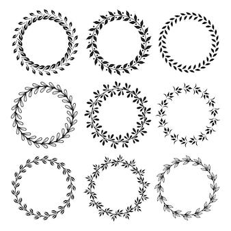 Colección de diferentes laureles circulares silueta en blanco y negro