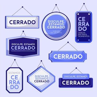Colección de diferentes letreros de cerrado.