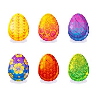 Colección de diferentes lindos huevos de pascua