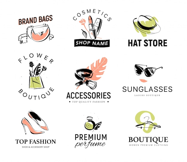 Colección de diferentes logotipos de mujer de moda para tienda de accesorios y ropa