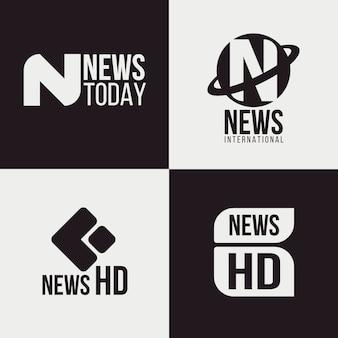 Colección de diferentes logotipos de noticias.