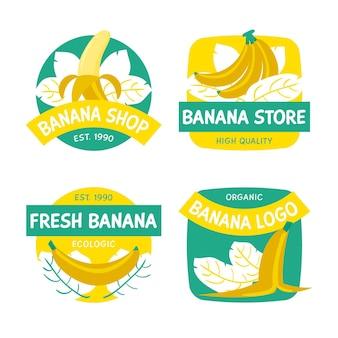 Colección de diferentes logotipos de plátanos.
