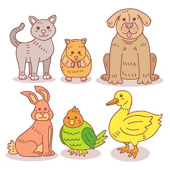 Colección de diferentes mascotas.