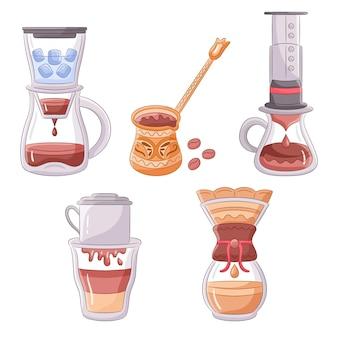 Colección de diferentes métodos de preparación de café.
