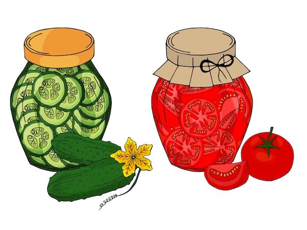 Colección de diferentes objetos. tarro de cristal con pepinos y tomates caseros.