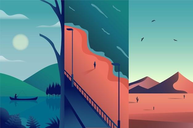 Colección de diferentes paisajes de diseño plano.