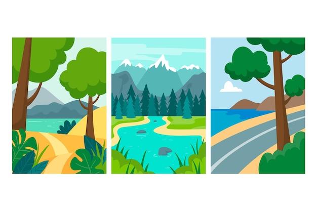 Colección de diferentes paisajes