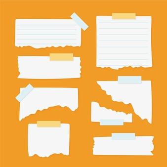 Colección de diferentes papeles rasgados con cinta.