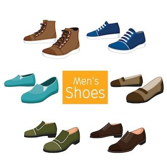 Colección de diferentes pares de zapatos para hombres