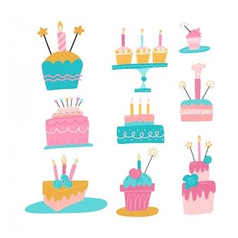 Colección de diferentes pasteles con velas. establecer iconos de vacaciones. feliz cumpleaños, fiesta. dulces, postres, chocolate. ilustración de dibujado a mano plana.