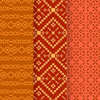 Colección de diferentes patrones de songket.