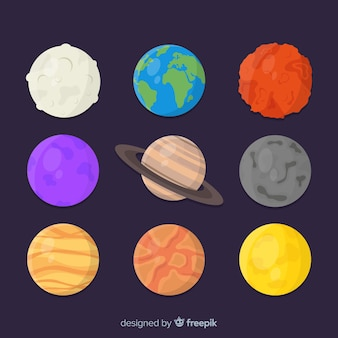 Colección de diferentes pegatinas de planetas