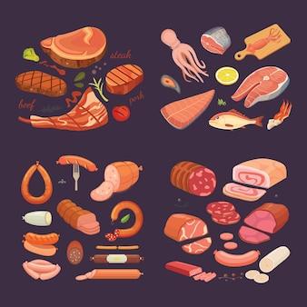 Colección de diferentes productos cárnicos. establecer salchicha de dibujos animados y pescado. filete de ternera a la plancha.