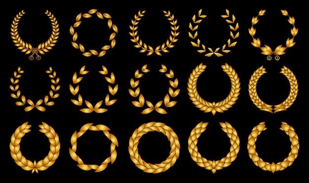 Colección de diferentes siluetas doradas circulares de laurel foliadas, coronas de trigo y roble que representan un premio