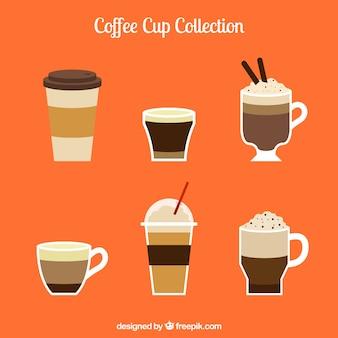 Colección de diferentes tipos de tazas de café