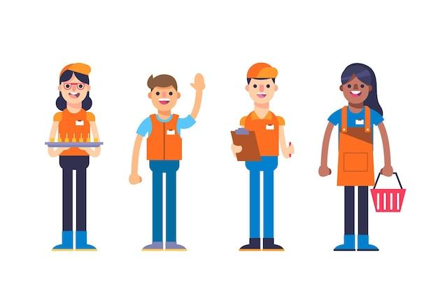 Colección de diferentes trabajadores de supermercados equipados