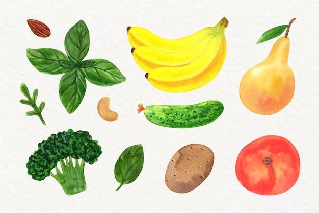 Colección de diferentes verduras en acuarela