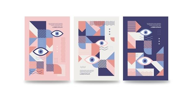 Colección dinámica de plantillas de portadas de ojos de memphis
