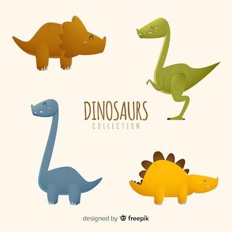 Colección de dinosaurio en diseño plano