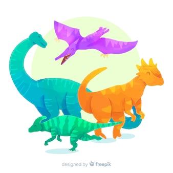 Colección de dinosaurios en acuarela