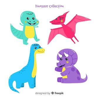 Colección de dinosaurios dibujados a mano