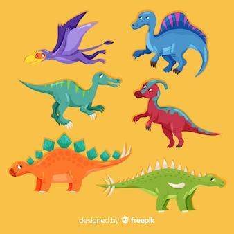 Colección de dinosaurios en diseño plano