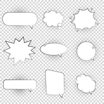 Una colección de discurso de estilo cómico y burbujas de pensamiento.
