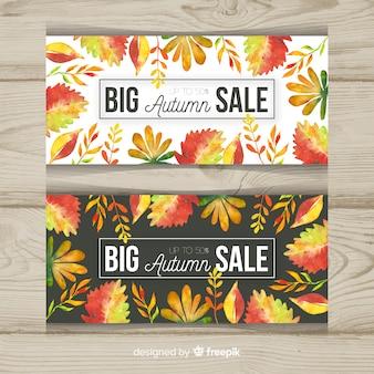 Colección de diseño de acuarela de banner de ventas de otoño