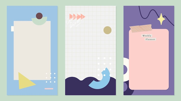 Colección de diseño de banners de colores verticales