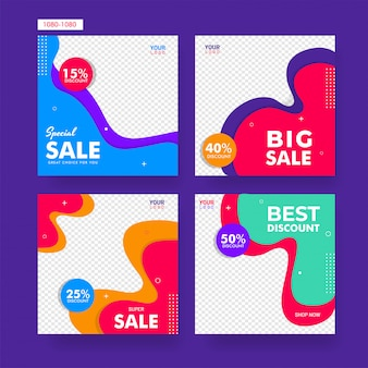 Colección de diseño de cartel o plantilla de venta con disco diferente.